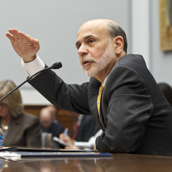 Fed Chair Bernanke couldn't be referring to current interest rates with this hand gesture, photo courtesy, AP