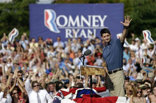 Republican vice presidential candidate, Rep. Paul Ryan, waves at a campaign stop in Pennsylvania (AP Photo/Matt Rourke).