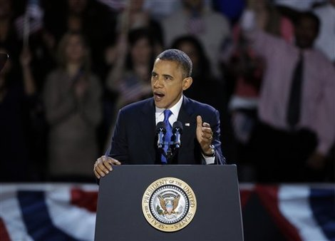 President Barack Obama speaks after he was re-elected to a second term. (AP Photo/Chris Carlson)