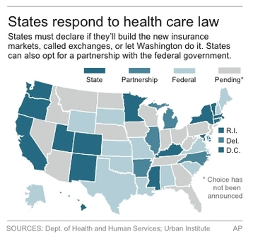 AP found 16 states that definitely want to build their own exchange and five that want to share the job. (AP Graphic)