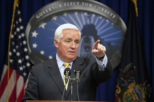 Gov. Tom Corbett in Harrisburg, Pa. (AP Photo/Daniel Shaknen)