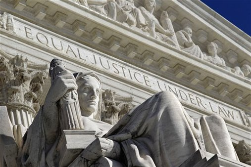 A detail of the West Facade of the U.S. Supreme Court is seen in Washington, D.C. (AP Photo/J. Scott Applewhite)