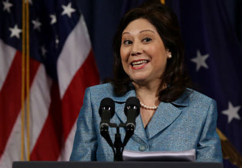 Hilda Solis is resigning after four years as secretary of Labor. (AP Photo/J. Scott Applewhite)