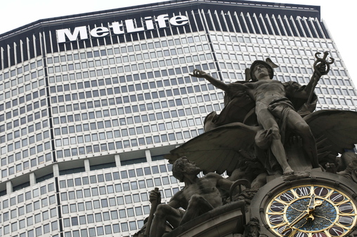 MetLife no longer under Fed supervision-for now above statue at Grand Central, NYC  (AP Photo/Mark Lennihan)