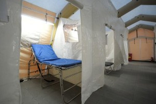 """A flu tent in Pennsylvania (AP photo/<a href=""""http://www.lehighvalleylive.com"""">Express-Times</a>/Matt Smith)"""