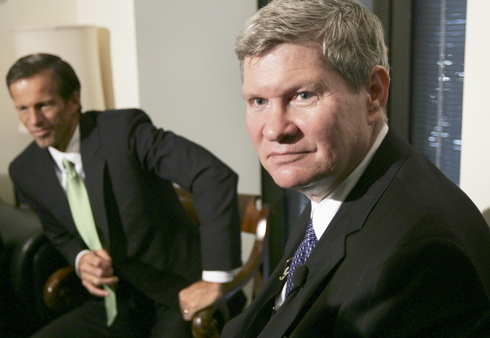 Senate Banking Chairman Johnson, D-S.D., writes his own Basel III letter of concern. (AP Photo/Lawrence Jackson)