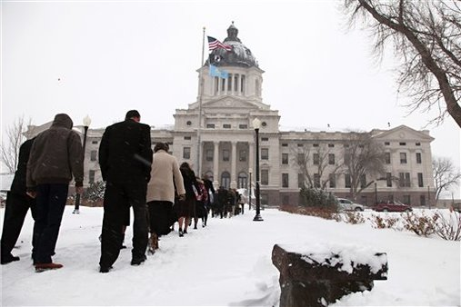 State Capitol in Pierre, S.D., this time last year. (AP Photo/Veronica Zaragovia)