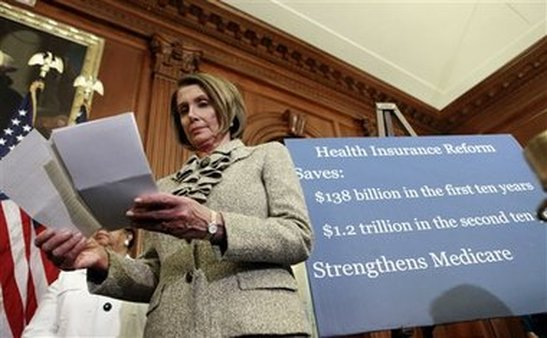 n this March 2010 photo, then-House Speaker Nancy Pelosi, D-Calif., looks over her notes during a news conference on healthcare. (AP/Pablo Martinez Monsivais)