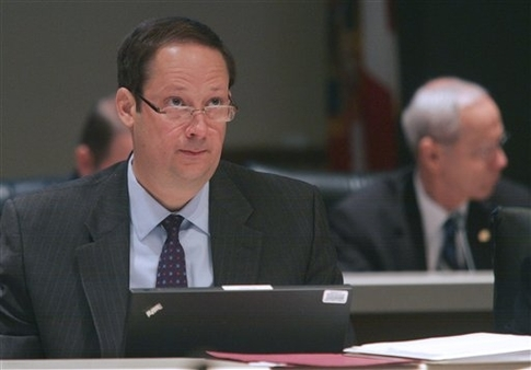 Sen. Joe Negron listens to testimony during the Select Committee on PPACA meeting on March 4. (AP/Phil Sears)