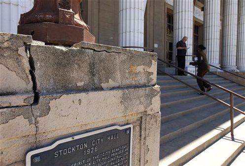 Stockton City Hall. AP Photo/Ben Margot, file.