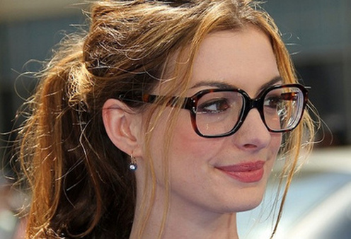 Actress Anne Hathaway, wearing a pair of Gucci eyeglasses. Photo courtesy Gucci.