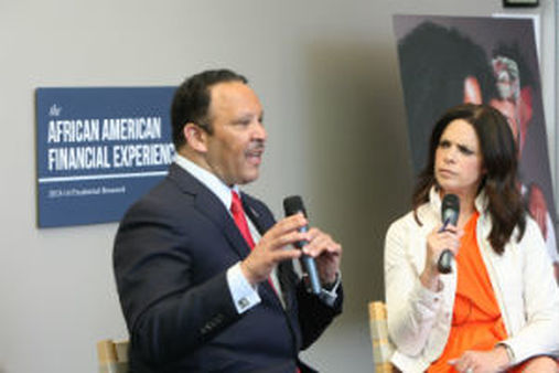 National Urban League President Marc Morial with former CNN anchor Maria de la Soledad Teresa O'Brien at the Prudential Financial luncheon on Tuesday