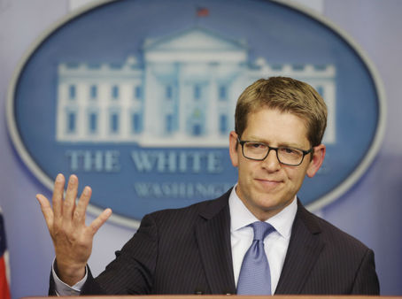 White House press secretary Jay Carney during his news briefing at the White House Friday, Oct. 11, 2013. (AP Photo/Pablo Martinez Monsivais)