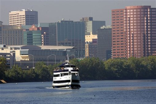 The Hartford is sailing away from variable annuities. Hartford, Conn. Skyline. (AP Photo/Bob Child)