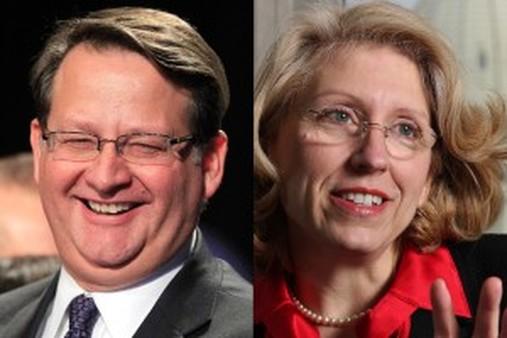 Michigan Democratic Rep. Gary Peters, left, and former two-term GOP Michigan Secretary of State Terri Lynn Land. (AP photo)