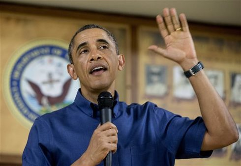President Obama speaks to military families in Hawaii. AP Photo/Carolyn Kaster
