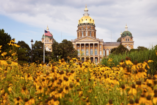 The state capitol building in Des Moines, Iowa.