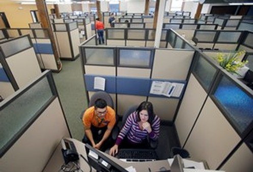 A glimpse of a MNsure contact center in the peaceful time before open enrollment started. (AP Photo/Jim Mone)