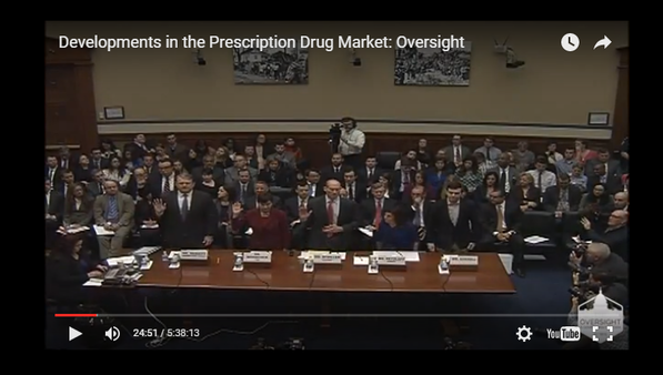 Shkreli's lawyer said his client's demeanor was the result of nervous energy. (House Oversight Committee hearing screen capture)