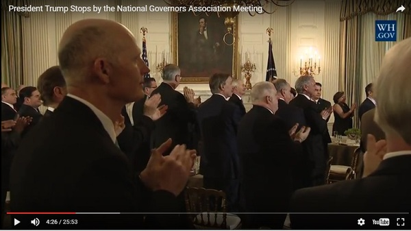 Governors heard about the Affordable Care Act from President Donald Trump today at a meeting at the White House. (Image: White House/YouTube)