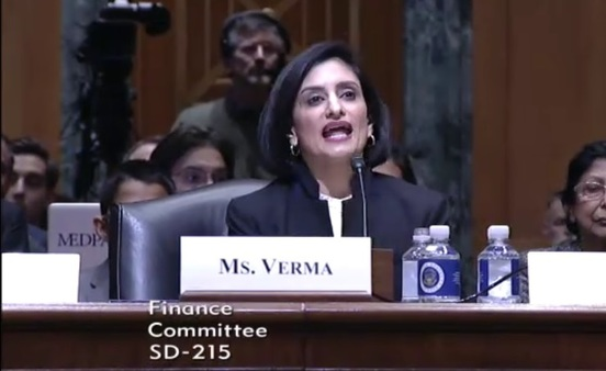 Seema Verma, shown above in a screen capture from a hearing video, received the support of all Republicans who voted. (Photo: Senate Finance)