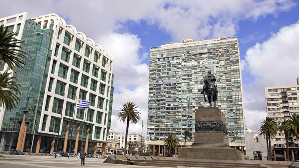 Plaza da Independencia in Montevideo, Uruguay.