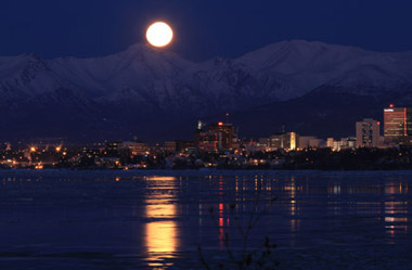 Moon over Chugach Mountains in Anchorage, Alaska. (Photo: AP)