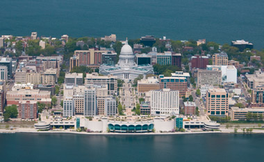 Aerial view of Madison, WI.
