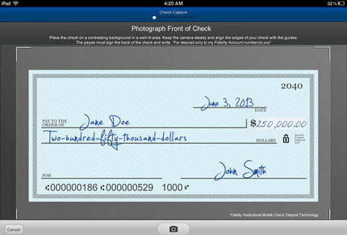 A screen shot of Fidelity's mobile check app.