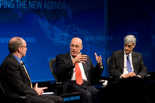 Former Treasury Secretary Hank Paulson (center) with Robert Rubin (right) and Robert Thomson. (Photo: AP)