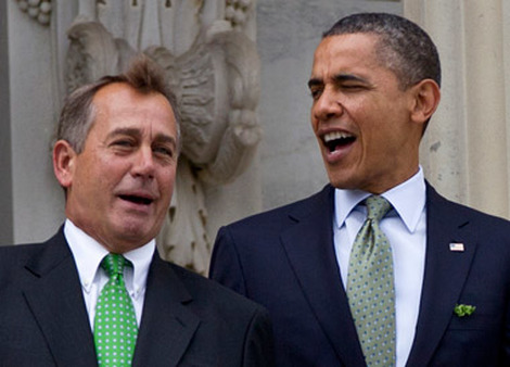 President Obama and Rep. Boehner on the steps of the Capitol in 2012. (Photo: AP)