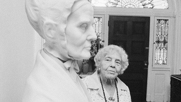 Alice Paul led the National Woman's Party when it was founded in 1919 Here, Paul admires a bust of Lucretia Mott, who was in the forefront of a small group of women who started the fight for women's rights over 100 years ago.
