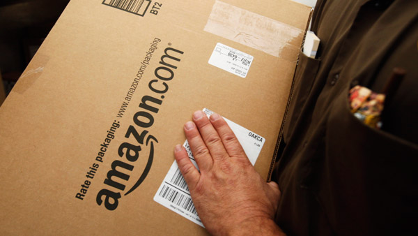 Amazon.com package being delivered. (Photo: AP)