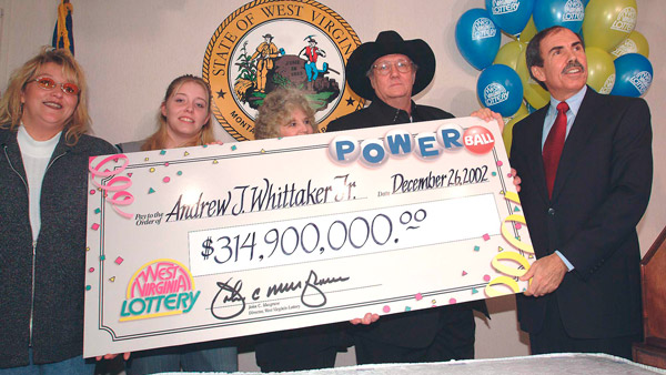 Andrew Jack Whittaker Jr. (with black hat) after winning the lottery.