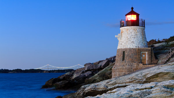 Castle Hill Lighthouse in Newport, Rhode Island.