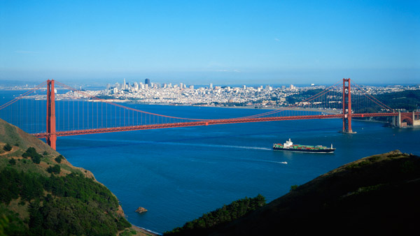 Aerial view of San Francisco and Golden Gate Bridge.