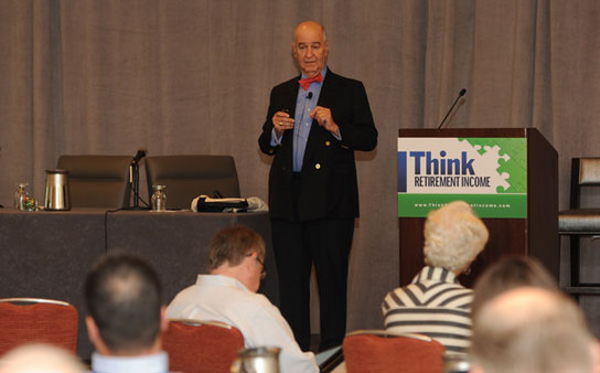 Harold Evensky delivering keynote address at Think Retirement Income conference in Boston. (Photo: Charles Sternaimolo)