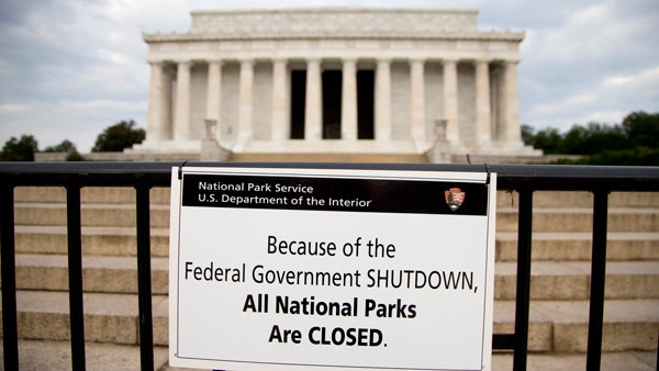 The Lincoln Memorial and other monuments are closed because of the government shutdown. (Phot