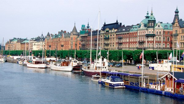 The Harbor in Gamla Stan, Stockholm, Sweden.