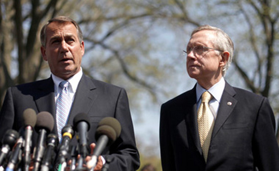 House Speaker John Boehner, left, and Senate Majo
