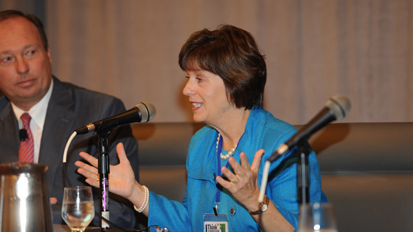 Barbara Attardo speaking on a Think Retirement Income panel in Boston. (Photo: Charles Sternaimolo)