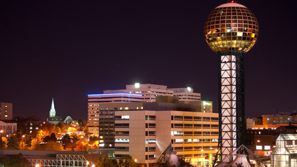 Knoxville, Tenn., skyline and Sunsphere.