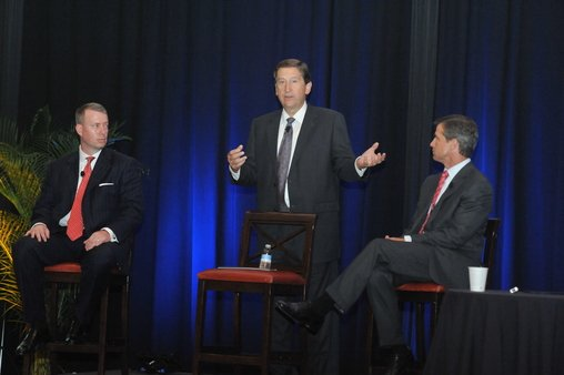 Tash Elwyn (left), Chet Helck & Scott Curtis at the '13 Raymond James Women's Symposium.