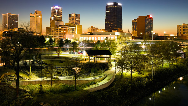 Night skyline of Little Rock, Arkansas.