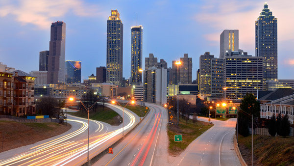 Downtown Atlanta skyline.