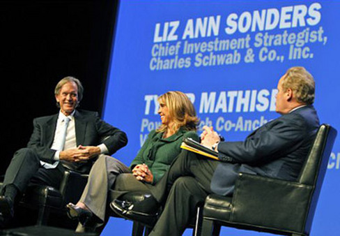 Bill Gross (far left) and Liz Ann Sonders speaking to Tyler Mathisen of CNBC at Schwab Impact in 2012.