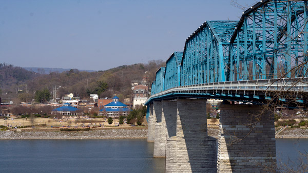 Market Street Bridge and Coolidge Park in Chattanooga, Tenn.