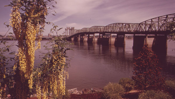 The Interstate Bridge over the Columbia River leading into Vancouver, Wash.