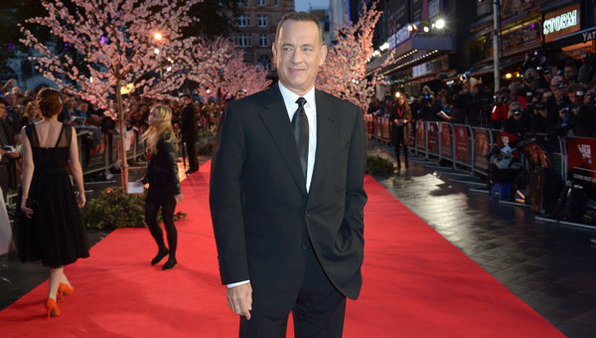 Tom Hanks arrives on the red carpet in London for the BFI London Film Festival on Sunday. (Photo:AP)
