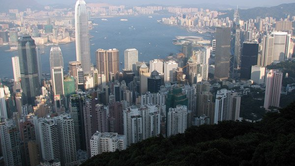 View from The Peak at Hong Kong Island and Victoria Harbor. (Photo: Wikimedia Commons)